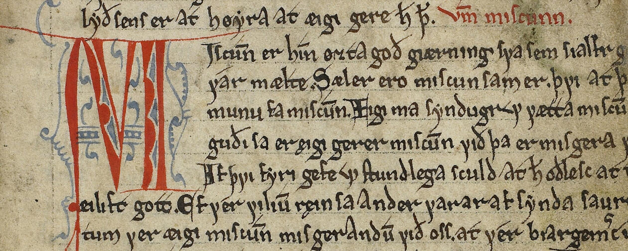 Detail of fol. 3r in The Old Norwegian Homily Book, AM 619 4to