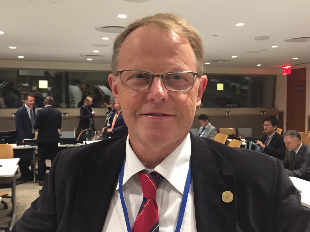 Universitetet i Bergen sin marine direktør, Amund Måge, i New York 5. juni 2017 på åpningsdagen av FNs havkonferanse.