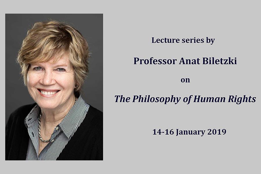 "Bilde av Anat Biletzki med teksten: ""Lecture series by Professor Anat Biletzki on The Philosophy of Human Rights 14-16 January 2019"""