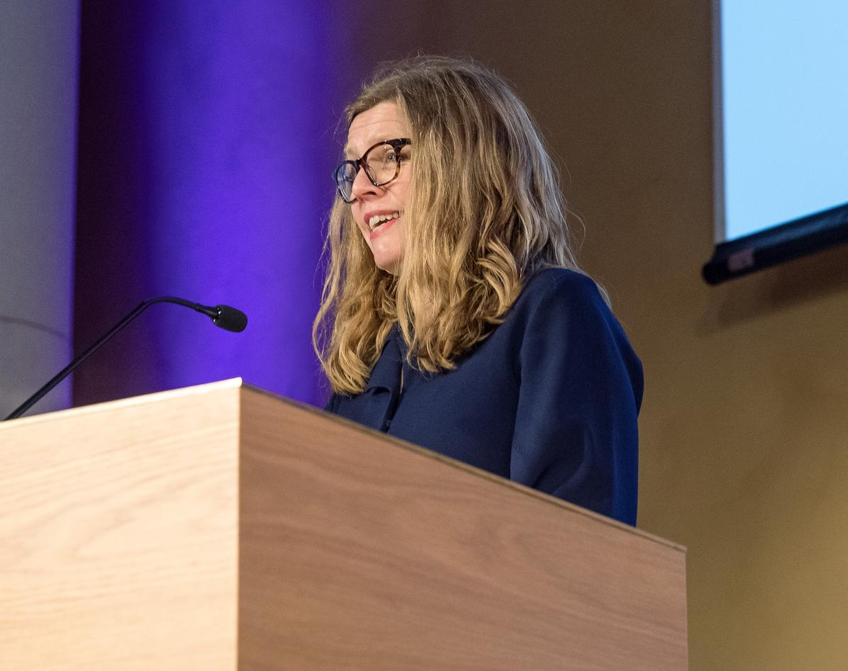 Vice-Rector for Global Relations Annelin Eriksen speaking to close the 2019 SDG Conference Bergen in February 2019.