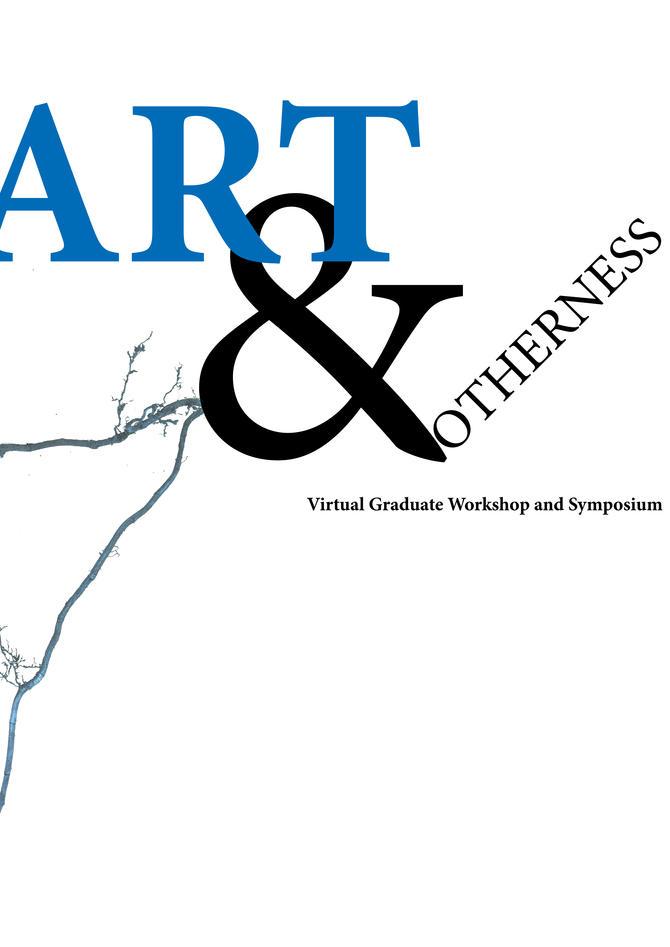 """Teksten """"Art & otherness"""" med en gren som bakgrunn"""