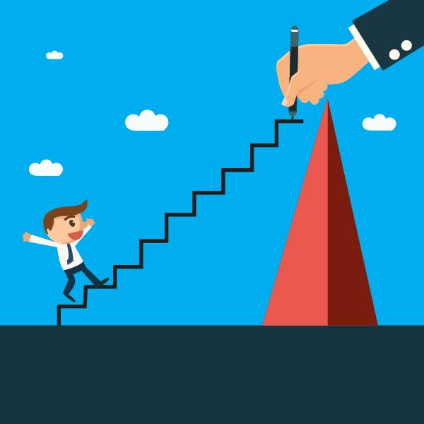 En hånd som tegner opp veien for en annen person som ønsker å klatre til topps