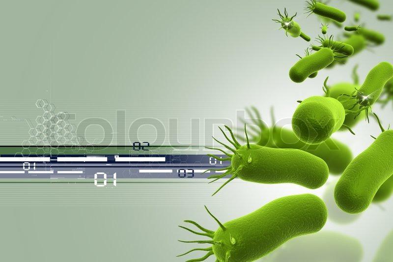 Illustrasjon som viser en gruppe bakterier og digitale symboler
