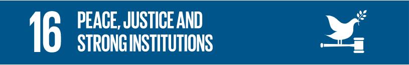 Logo for FN sitt bærekratmål nr 16