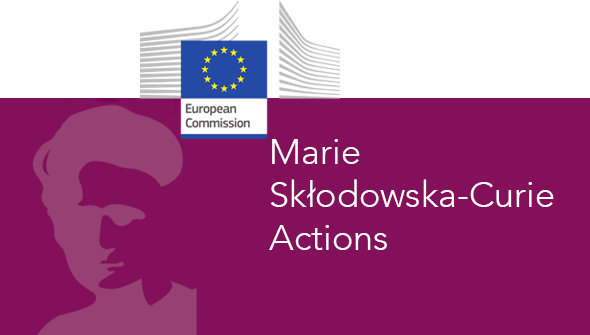 A dark pink background with the silhouette of a woman and the text Marie Sklodowska-Curie Actions in White, the EU flag and the text European commission at the top