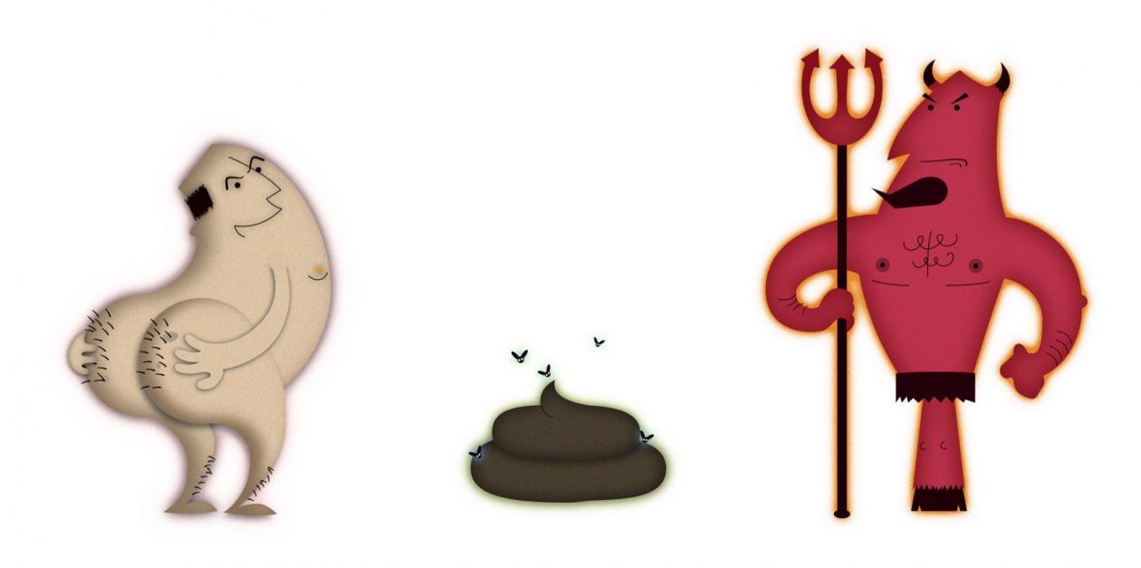 Grafisk illustrasjon av ulike banneord