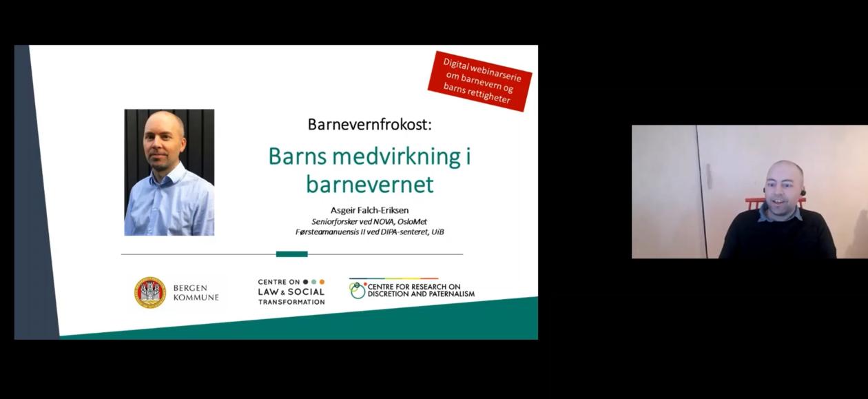 Seniorforsker Asgeir Falch-Eriksen fra NOVA ved OsloMet snakker om barns medvirkning i barnevernet