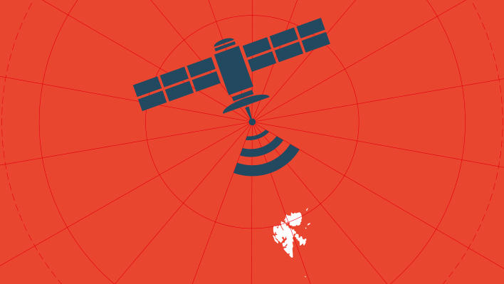Graphic from the front page of the UiB Magazine 2014/2015, showing a satellite over Svalbard.