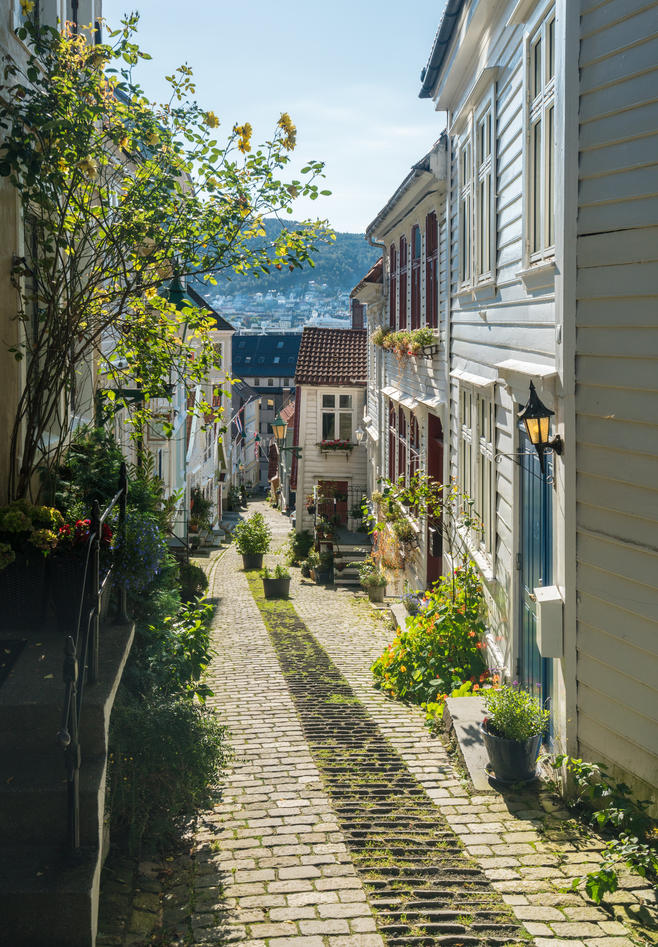 A view of a narrow Bergen street - smau - in summer-.