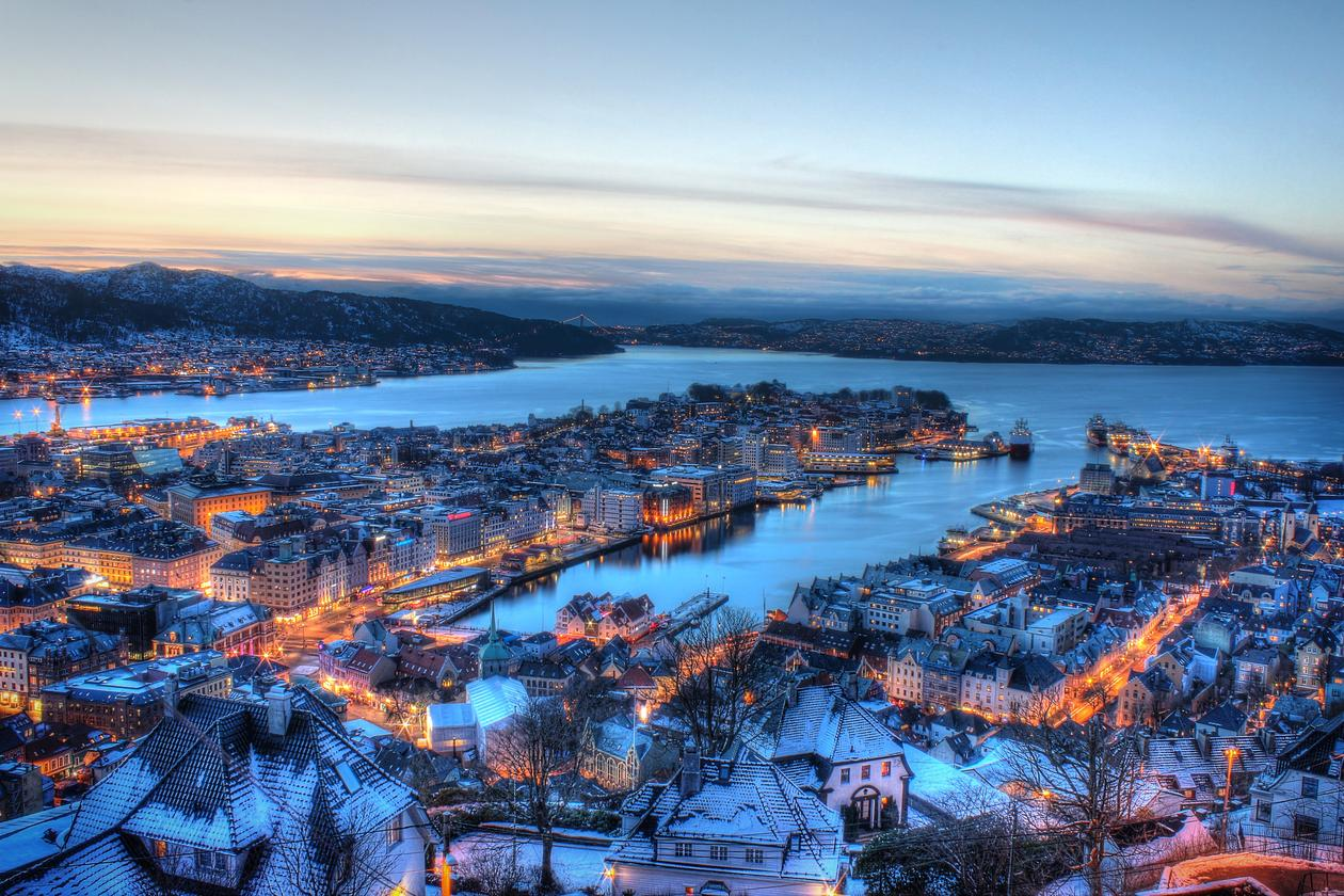 Overview of the city of Bergen