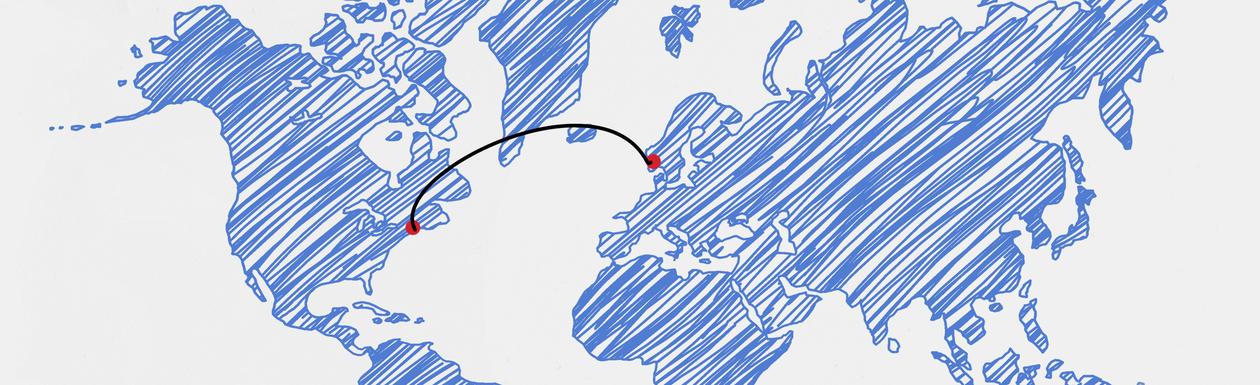 Verdenskart med linje mellom Harvard i USA og Bergen, Norge.