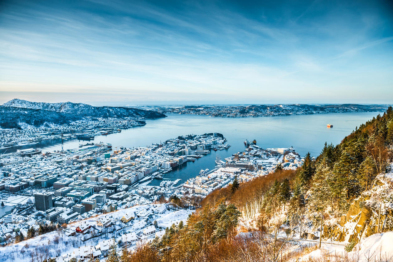 Long distance view of Bergen with snow.