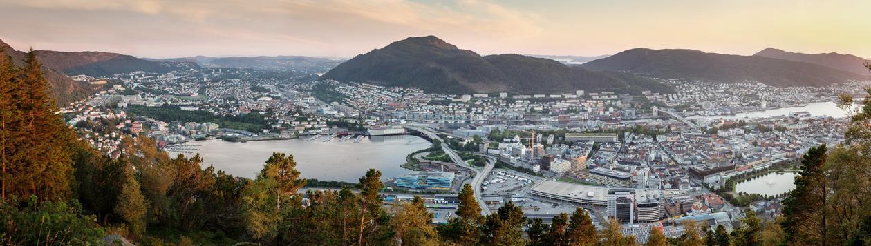 Oversiktsbilde av Bergen by