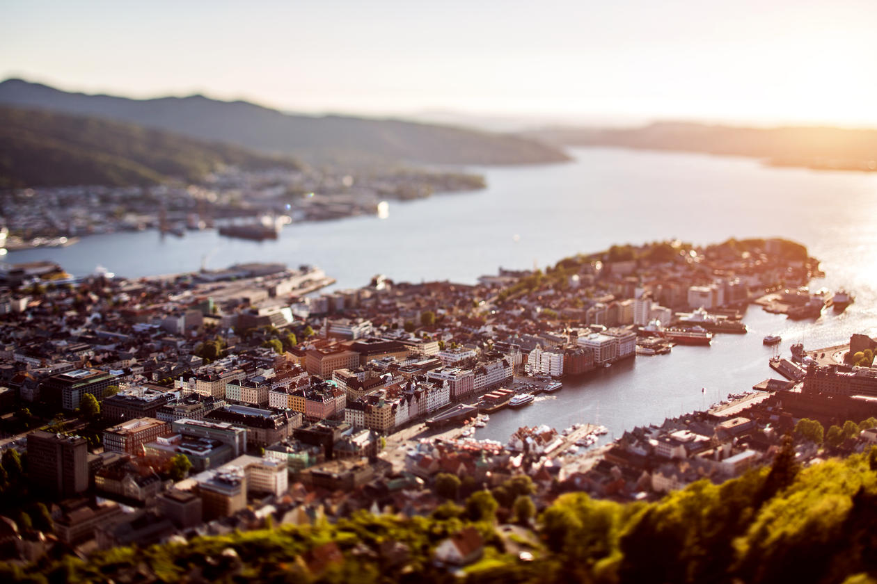 An overview picture of the city of Bergen