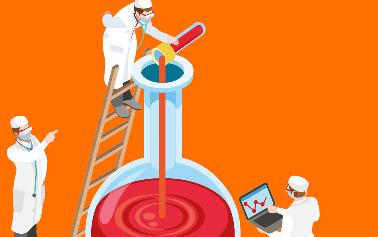 Illustration of 3 lab technicians mixing a huge bowl of medicine.