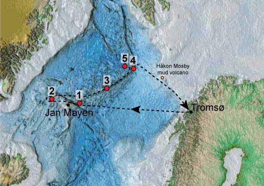 Kart som viser hvor forskerne reiser
