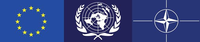 EU, UN and NATO flags