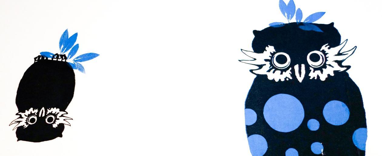 Tegninger av blå UiB-ugler