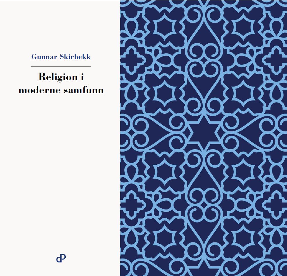 """Bokframside: Teksten """"Gunnar Skirbekk"""" i blått og """"Religion i moderne samfunn"""" i svart på kvit bakgrunn på venstre halvdel, eit mønster i lyse- og mørkeblått på høgre halvdel"""
