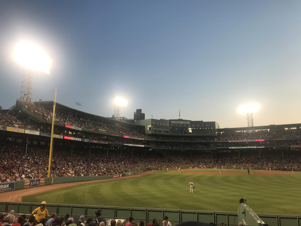 inside a the baseball stadium, Fenway, home of the Red Sox