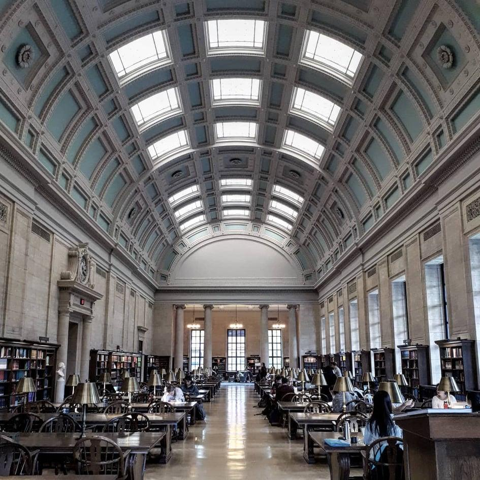 An impressive library in a classical building.