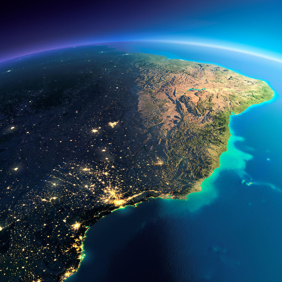 satelite image of the coast of Brazil