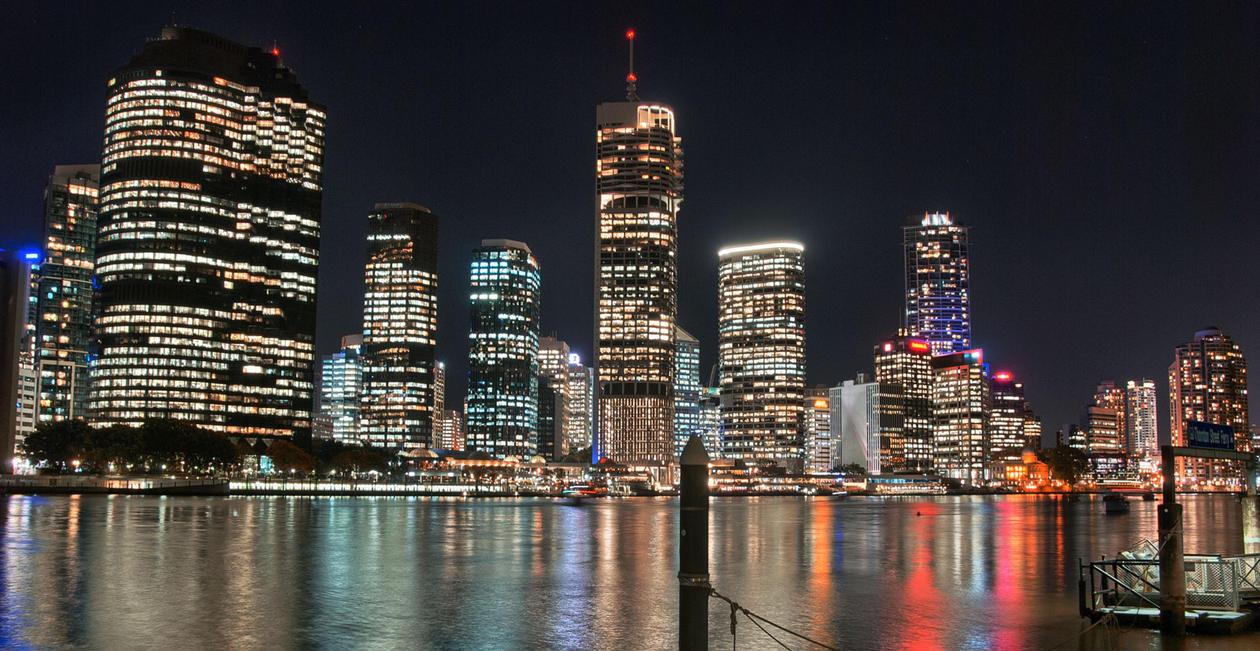 Night skyline of Brisbane, Australia.
