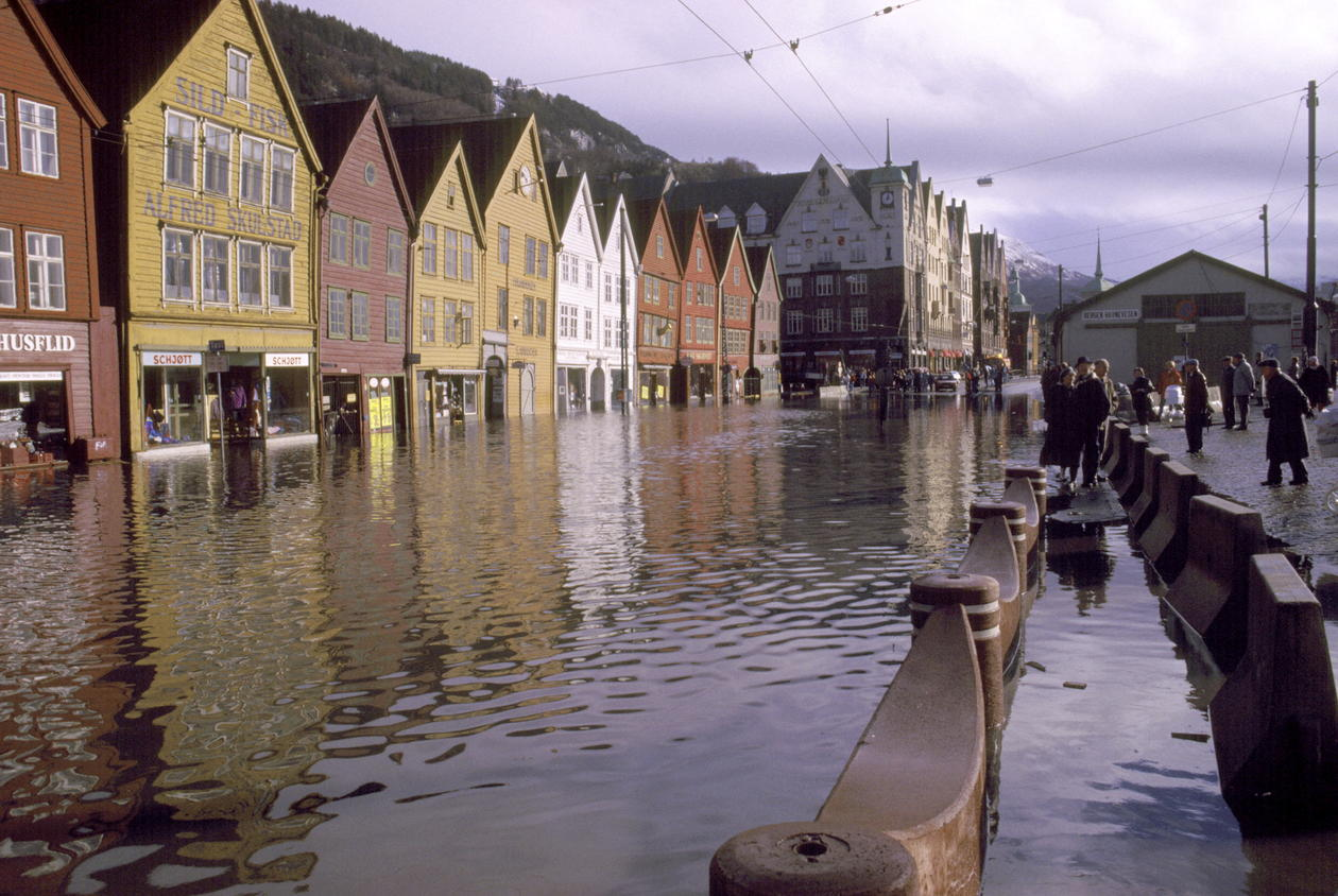 Bryggen, flooded
