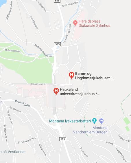 Vi er lokalisert i Barne- og ungdomssjukehuset (BUS1) nord for Sentralblokken ved Haukeland Universitetssjukehus.