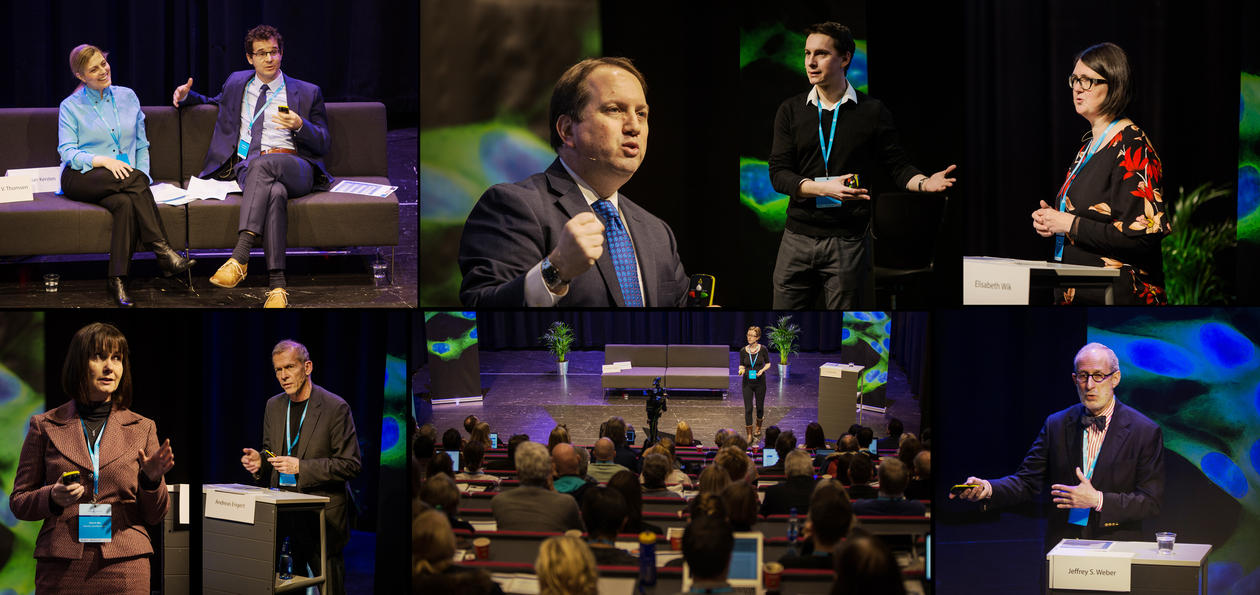 Collage of photos from the 10th Cancer Crosslink, different speakers on the stage.