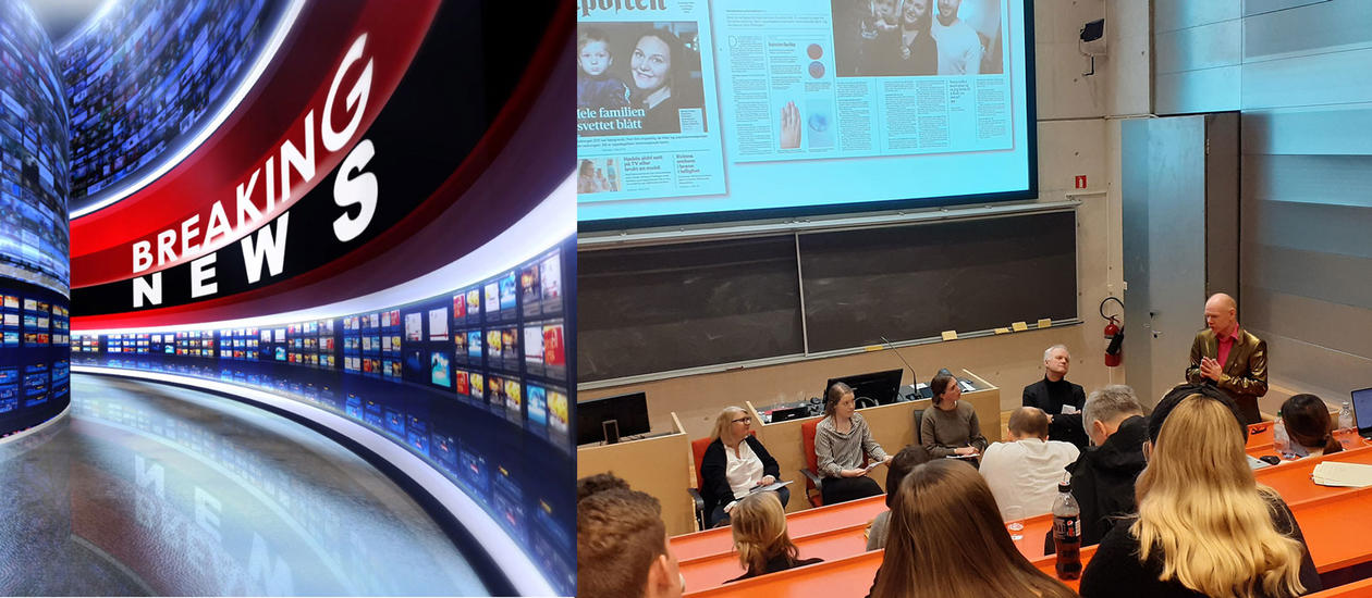 Collage, Breaking News illustration plus the discussion panel in the auditorium.