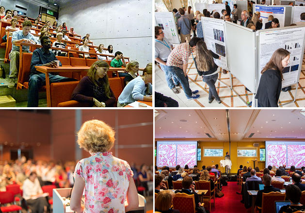Collage of 4 photos from CCBIO lectures, in auditorium
