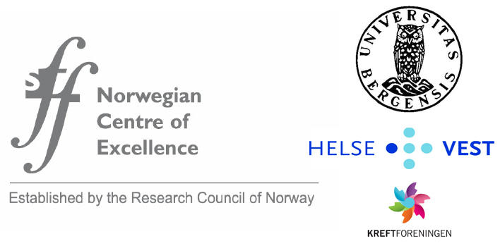 Logos of CCBIO funding: Research Council, University of Bergen, Helse Vest and the Cancer Society.