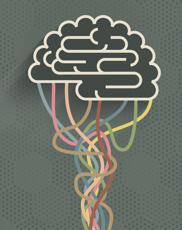 Illustration of a brain with lots of wires hanging from below.