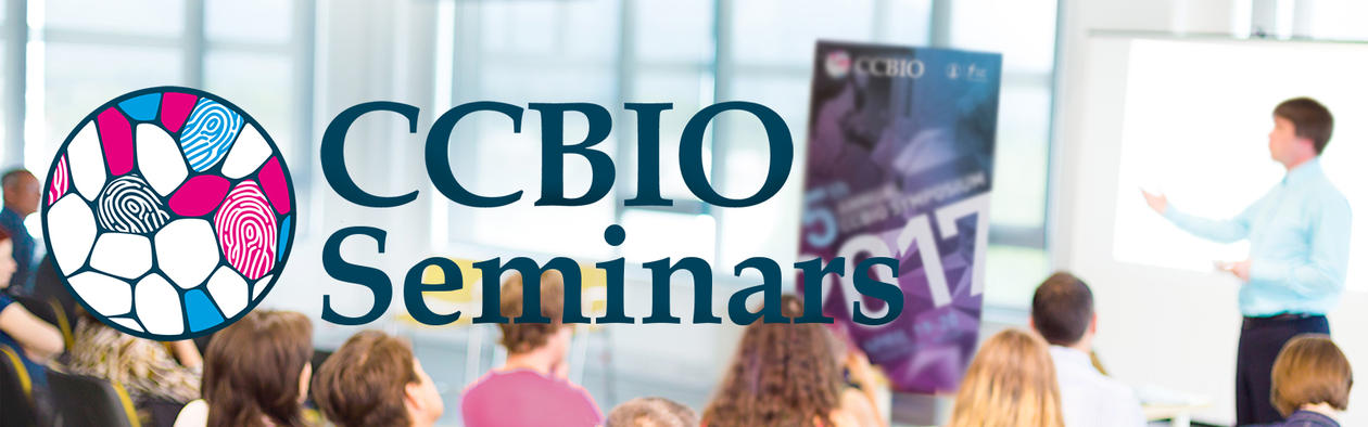 CCBIO seminars logo, background people in a seminar room and a lecturer in front.