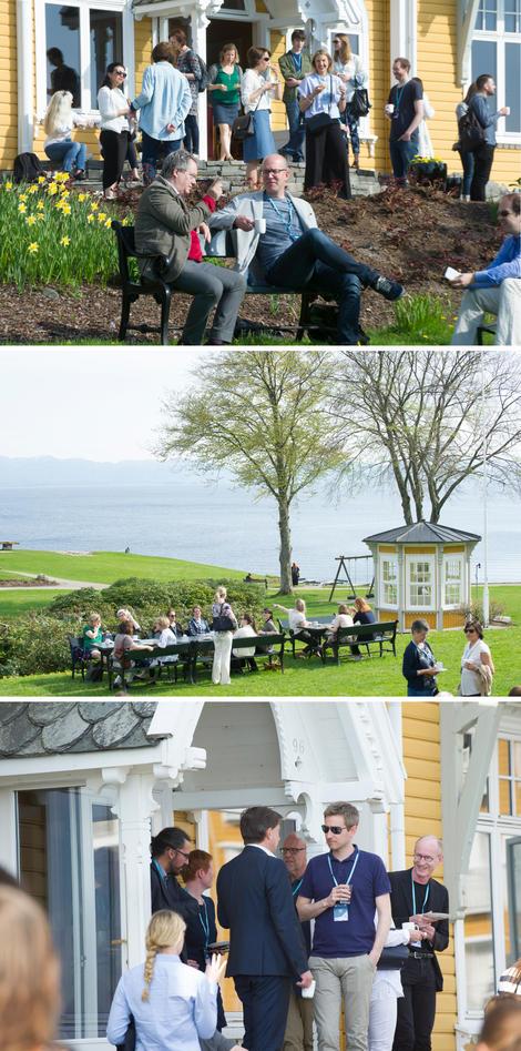 Bilder fra omgivelsene på Solstrand og kreftforskerne som snakker sammen ute på trappen og på plenen.