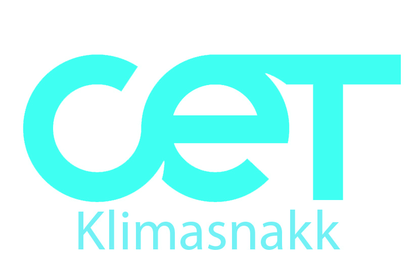 blue logo with CET Klimasnakk