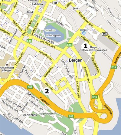 Kart over Bergen og Realfagbygget