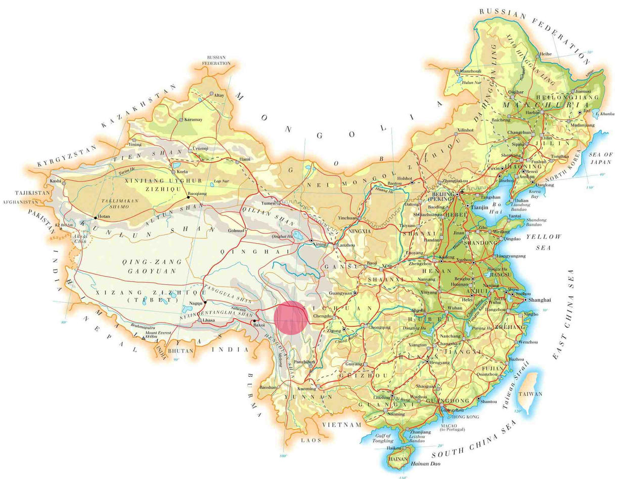 Topographical map of mainland China