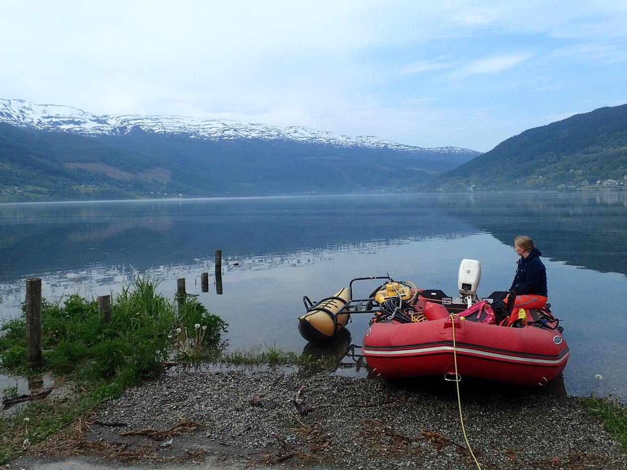 CHIRP setup on inflatable boat for lake survey