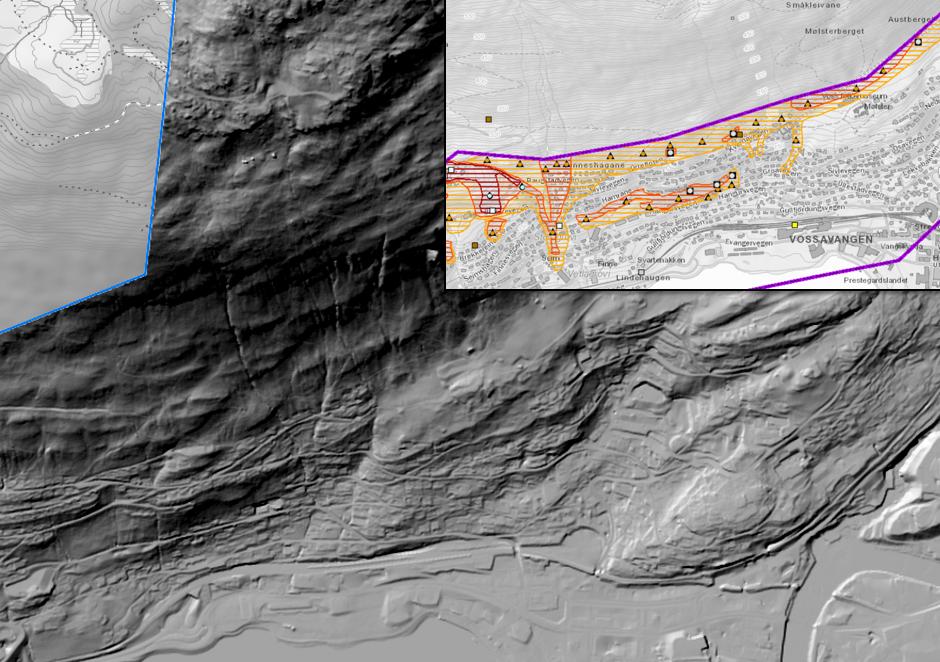 Kart fra Voss, hentet fra høydedata, masteroppgave i geologi