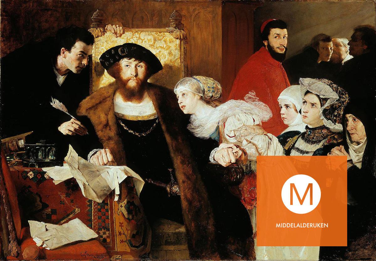 Eilif Petersens berømte maleri av Christian II som undertegner dødsdommen over Torben Oxe