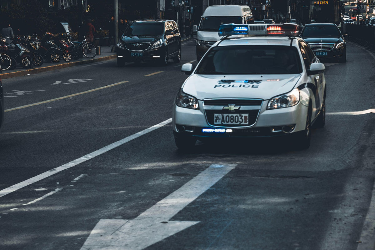 Police car in Shanghai streets