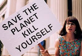 Demonstrant med plakat: Save the planet, Kill yourself