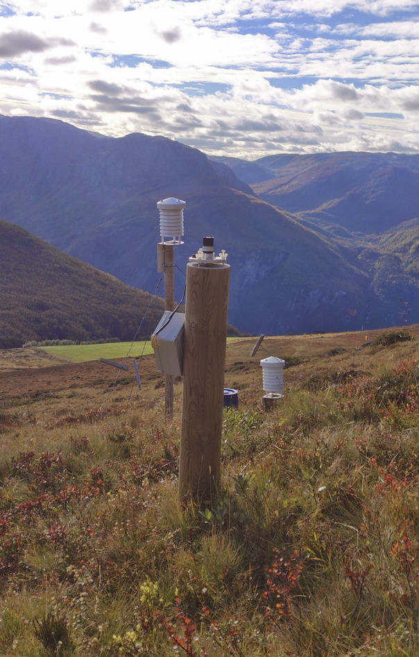 A wooden post with different instruments to measure incoming solar radiation