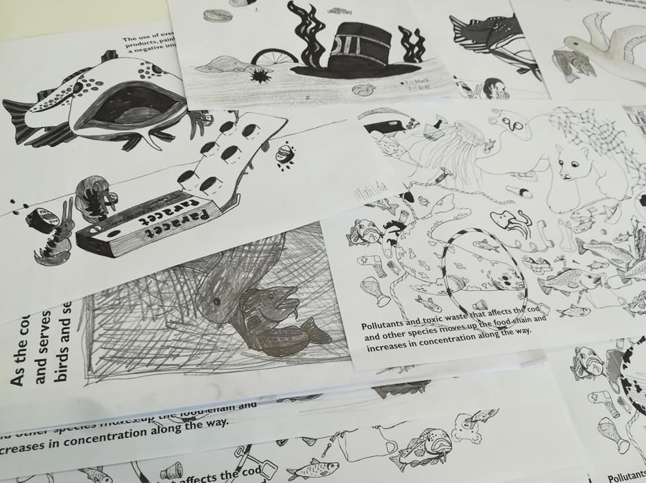 Many illustrations of cod and pollutants