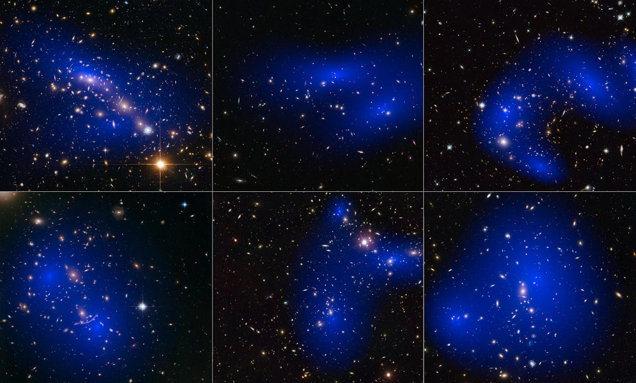 collage_of_six_cluster_collisions_with_dark_matter_maps