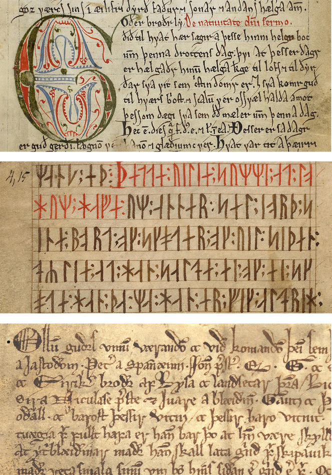 Top: AM 619 4to (Old Norwegian Homily Book), The Arnamagnæan Collection, Copenhagen. Middle: AM 28 8vo (Codex Runicus), The Arnamagnæan Collection, Copenhagen. Bottom: Aga charter, DN IV 6, 26 May 1293, The University of Bergen Library