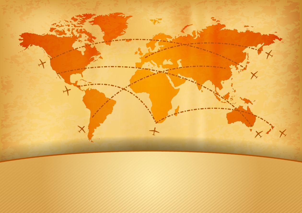 Verdenskart med flyruter