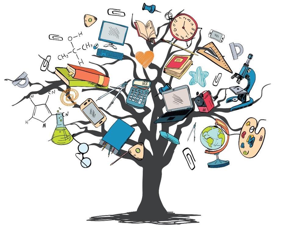 skjematisk tegning av et tre med undervisningsmateriell